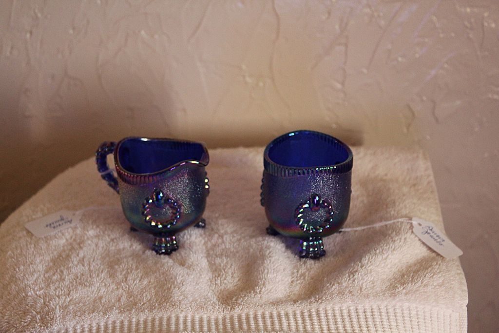 Imperial Glass Toothpick & Creamer (Aurora Jewels)