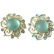 Vintage Domed Aqua Moonstone & Rhinestone Clip Earrings