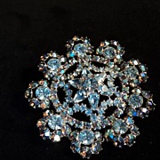 Old Snowflake Rhinestone Pin Aqua Blue and AB Outstanding Shimmer