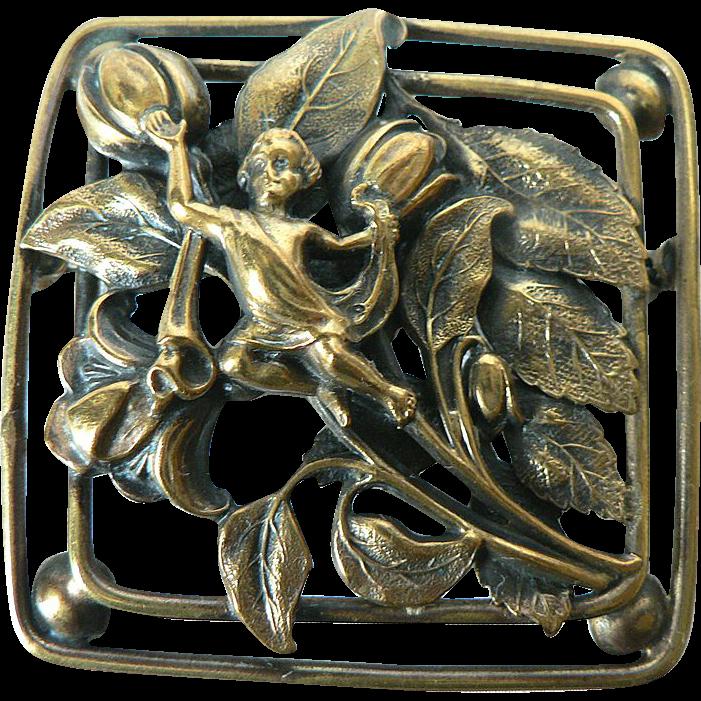 Vintage Art Nouveau Flower & Fairy Sash Pin Brooch