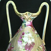 Circa 1890 Nippon Flower Ewer Vase Heavy Gold Gilt & Raised Handles