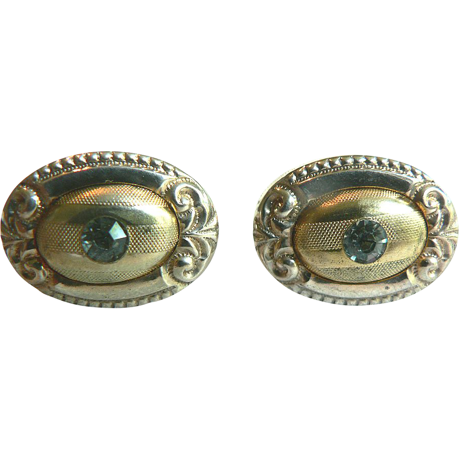 Beautiful Victorian Gold Fill Vintage Cufflinks with White Crystal Stone