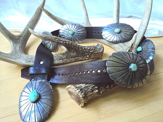 Vintage Native American Silver & Turquoise Concho Belt