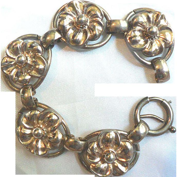 Vintage 1922 Art Deco Signed Napier Sterling Silver & Gold Vermeil Floral Bracelet