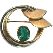 1950s Curtis Jewelry Mfg. Co. Deco Pin w. Emerald Rhinestone 1/20 14kt G.F.