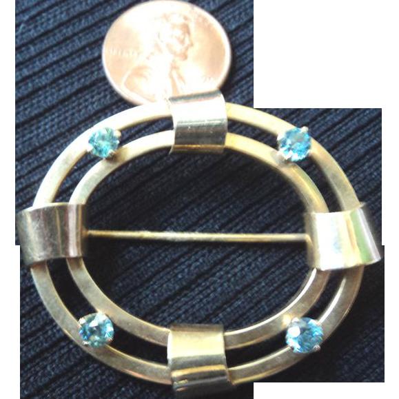 Vintage 14K Gold Brooch or Pin w/ 4 Aquamarine Stones