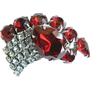 Vintage 1950s Red & White Rhinestone Brooch Pin