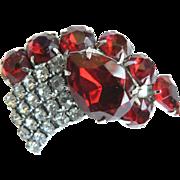 Vintage 1950s Red & White Rhinestone Brooch Pin