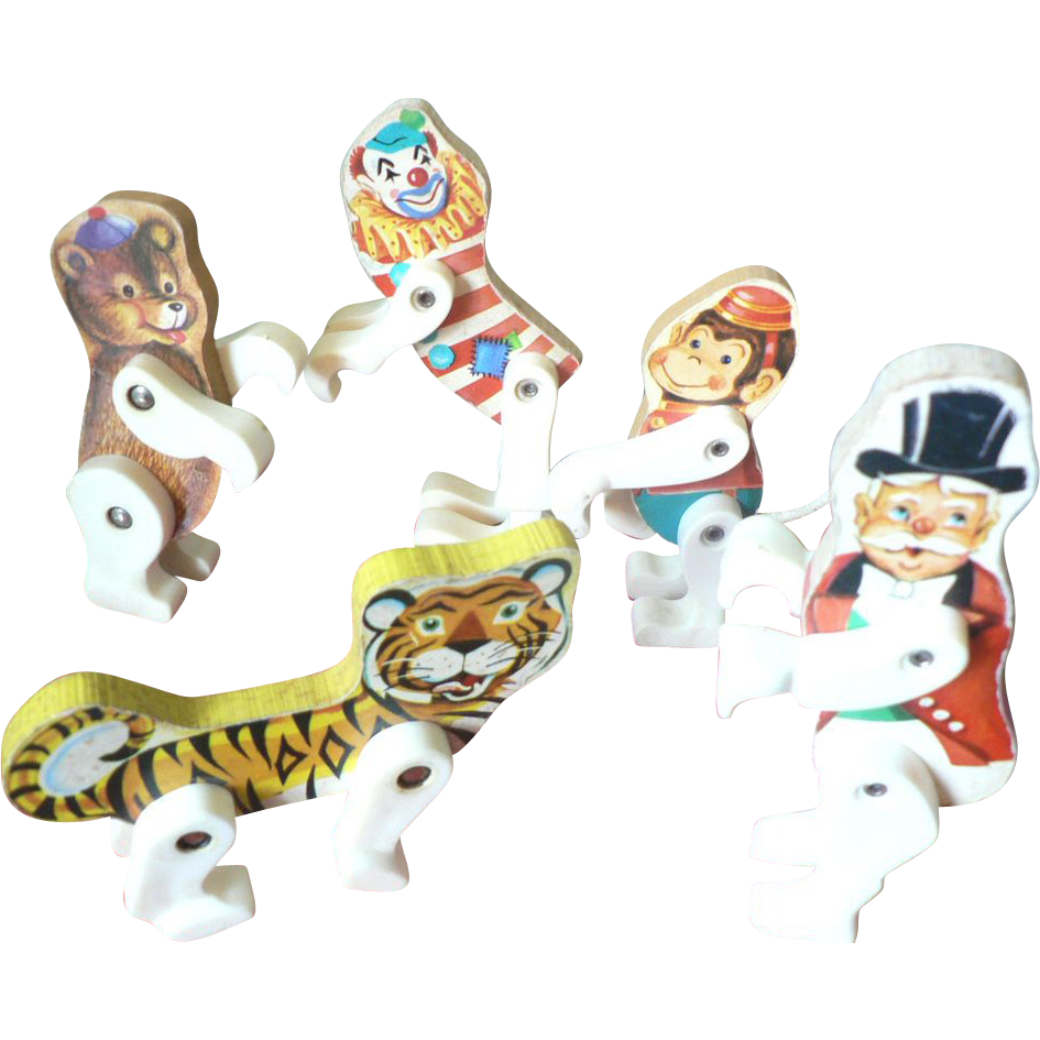 Five 1961-62 Fisher Price Circus Characters Ring Master, Clown, Monkey, Bear, Tiger Toy