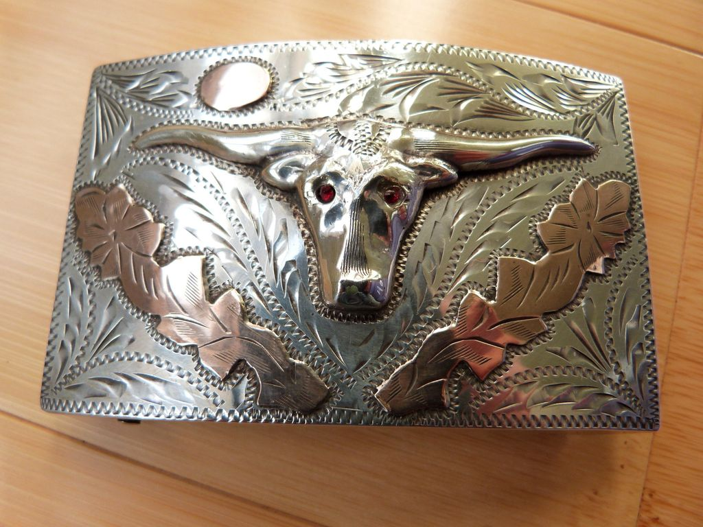 Large, Vintage Sterling Silver & Gold Western Belt Buckle Mexico