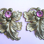 Vintage 1930s Metal Leaf Dress Clips with Large Pink Rhinestones
