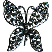 Vintage Signed Lisner Black Enamel Butterfly with Black Rhinestones