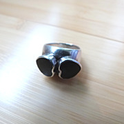 Vintage Sterling Silver Ring with Black Onyx Hearts Mexican