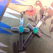 Southwest Sterling Silver & Opal Cross Earrings Santa Fe New Mexico
