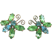 Vintage Gorgeous Light Blue & Green Rhinestone Butterfly Earrings