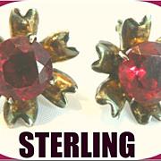 Vintage 1933  Art Deco Sterling & Ruby Colored Rhinestone Earrings