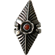 "Signed ""RS Native American Sterling Silver & Coral Long Ladies Ring Sz. 6"