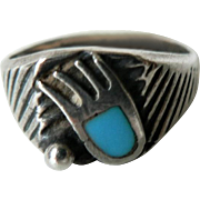 Vintage Native American Sterling Silver & Turquoise Bear Claw Ring Sz 6 1/4