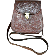 1940's Hand Tooled Floral / Acanthus Leaf Leather Cross-Body Purse Bag