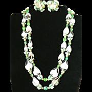 Fabulous 1950s Art Glass, Aurora Borealis & Moonglow Necklace & Earring Parure