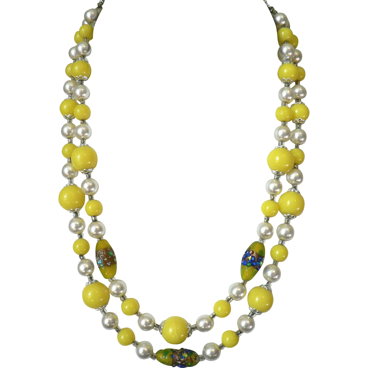 Vintage Yellow Art Glass Bead & Pearl Necklace, Stunning!