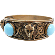 1920's Vintage High Relief Egyptian Revival Pharaoh Head & Faux Persian Turquoise Bangle Bracelet