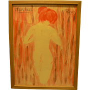 Mid-Century Nude Watercolor by European Artist Francois Paris