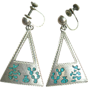 1950's Eagle Marked Sterling Silver Mexican signed FP (?) Turquoise Chip Inlay Dangle Earrings