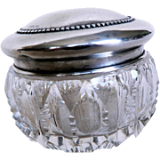 Brilliant Cut Glass Vanity / Dresser Jar w. Sterling Silver Raised Beaded Cover Lid