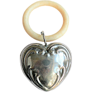 Vintage Silver Heart Shaped Baby Rattle Synthetic Teething Ring