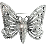 Vintage 1920's Book Piece Large Butterfly Pin Crystal Rhinestones Set in Coin Silver