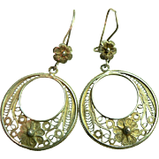 Circa 1957 Book Piece 800 Silver Filigree Dangle Hoop Pierced Earrings
