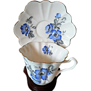 Vintage English Bone China Floral Cup & Saucer Set Blue Forget-Me-Nots