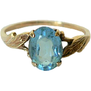 Mid Century Aquamarine Yellow 10K Gold Ladies Ring