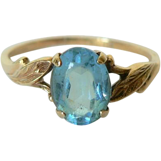 Mid Century Aquamarine Yellow 10K Gold Ladies Ring