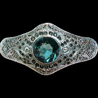 Vintage Art Deco Rhodium Plated Filigree Bracelet with Center Tanzanite Glass Stone