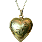 Vintage 12 K Gold Fill Double Photo Heart Locket & Chain