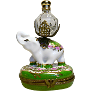 Limoges France Paint Main Elephant Trinket Box with Perfume Bottle