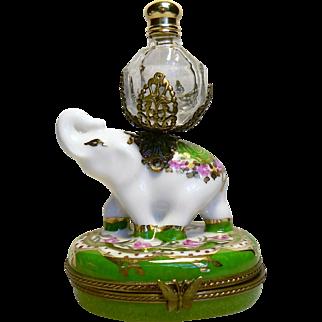 Limoges France Paint Main Elephant Trinket Box with Perfume Bottle