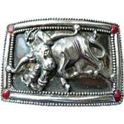 Vintage 1950's-60's Rodeo Western Belt Buckle Steer Wrestling Cowboy Silverplate - Red Tag Sale Item
