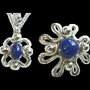 Pre 1965 NAPIER Modernist Silver & Glass Blue Lapis Pin & Pendant 2 Pc. Set