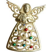 Vintage J.J. Singing Angel Christmas Pin w. Rhinestones & Enameling