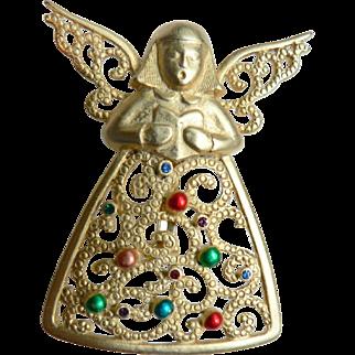 Vintage J.J. Singing Angel Christmas Pin w. Rhinestones & Enameling