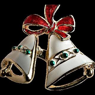 Vintage Beautiful Unique Trembler Enamel Christmas Bell Pin Signed SFJ