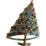 Vintage BJ Beatrix Co. 1960s Modernist Rhinestone Christmas Tree Pin