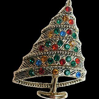 Vintage BJ Beatrix Co. 1960s Modernist Rhinestone Christmas Tree Pin