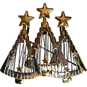 Signed RON Vintage Three Christmas Tree Pendant Pin Brooch