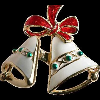 Vintage Signed SFG Holiday TREMBLER / JIGGLER Christmas Pin Brooch Enameled Bells