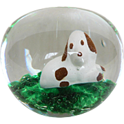 Vintage Art Glass Sulphide Beagle Dog Paperweight