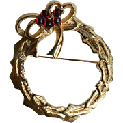 MONET Golden Holly Wreath / Red Cabochon Berries Christmas Brooch Pin